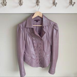 Betsey Johnson lilac leather military jacket